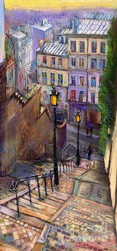Paris Montmartre Painting - Paris Montmartre Fine Art Print