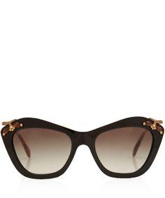Miu Miu Black Cat Eye Embellished Sunglasses $328.68