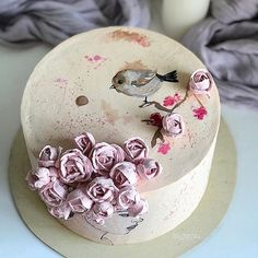 New birthday flowers cake sweets Ideas Pretty Cakes, Cute Cakes, Beautiful Cakes, Amazing Cakes, Fancy Cakes, Mini Cakes, Cupcake Cakes, Decoration Patisserie, Happy Birthday Cakes