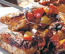 Honey-Balsamic Baked Chicken with Tomatoes, Mushrooms & Peppers