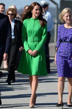Kate wearing Catherine Walker coat dress in Canberra, Australia on 4/24/2014