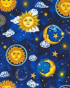 Starlight - Twinkling Moon & Sun -Quilt Fabrics from www.eQuilter.com