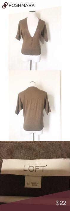 Loft brown cardigan Size medium! Half zip up! Excellent condition! LOFT Sweaters Cardigans