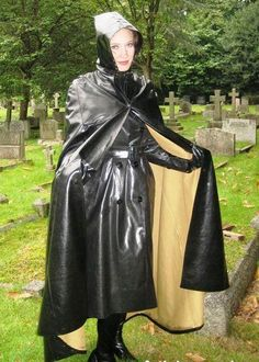 Fully protected in black SBR mac and hooded cape. Black Raincoat, Pvc Raincoat, Hooded Raincoat, Heavy Rubber, Black Rubber, Capes, Rain Cape, Rubber Raincoats, Walking In The Rain