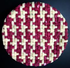 Mixed Berry Pie with Beet-colored houndstooth crust weave. #lokokitchen