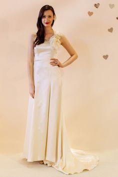 Oh la la charmuese gown with chiffon corsage