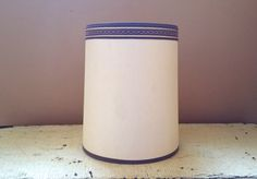 MCM Beige Drum Lamp Shade Clip On 10 1/2 Inch  Lampshade Brown Trim by GladStoneatHome on Etsy