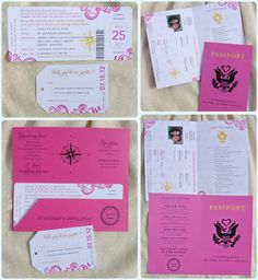 Pink, Orange & Yellow Swirls, Compass & Globe Travel Themed Airline Ticket Wedding Invitations and Passport Programs