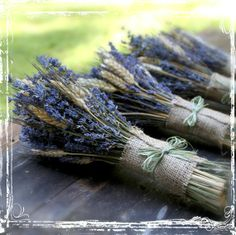 Wheat and lavender bouquets - see more at http://themerrybride.org/2014/05/16/friday-finds-from-etsy-com-8/