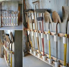 Here are some brilliantly clever garage organization tips! Clean up all the junk in your garage with these unique and creative ideas! Never misplace anything in your garage again with these guide to the perfect storage space. Garage Shed, Barn Garage, Garage Tools, Yard Tools, Garage Workshop, Garage Art, Garden Tool Storage, Shed Storage, Storage Hacks