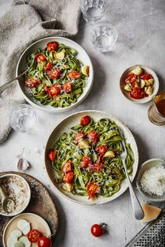 matcha tagliatelle with confit tomatoes and garlic