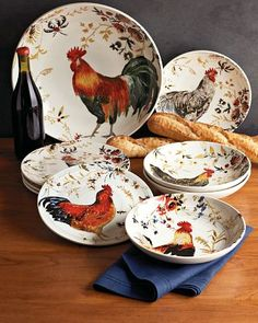 Image detail for -alright in an effort to not do work i was brows ing & 16-Piece Sunflower Rooster Dinnerware Set from Seventh Avenue ...