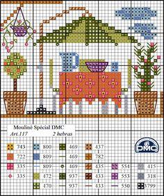 El blog de Dmc: Diagrama casa punto de cruz: la terraza