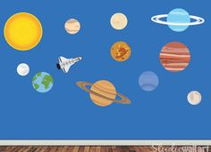 Solar System Wall Decal   Childrens REUSABLE Fabric Wall Decal   EXTRA  LARGE. $75.00, Part 86