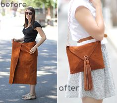 Refashions rock. DIY: suede skirt to envelope purse