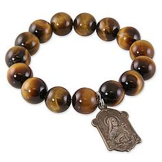 Another Miracle Icon bracelet... Tortoise Tiger Eye. Each has a different religious icon on it to promote a feeling of spiritual and bodily well-being. $85 Tiger Eye Bracelet, Catholic Gifts, Religious Icons, Tortoise, Spirituality, Diamonds, Style Inspiration, Pearls, Eyes