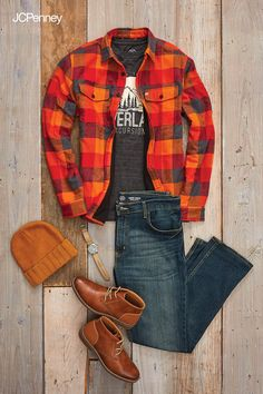 Fall's back with St. John's Bay Outdoor. Layer a flannel-inspired button down over a graphic tee for a brawny look that's just cool enough. Pairs easily with cargo joggers or utility pants but looks equally great with dark denim. Add a sleek pair of lace-up dress boots to go from woods to workstation without a hitch.