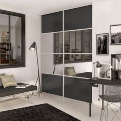 Gray graphite sliding cupboard door / mirror SPACEO x cm Source by laurenlepla Cupboard Doors, Cosy Bedroom, Home Deco, Cupboard, Home Decor, Room Divider, New Homes, Sliding Cupboard, Furniture
