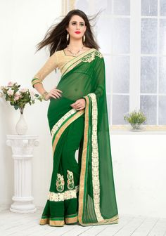 #Green #Georgette,#Chiffon #Designer #Saree #nikvik  #usa #designer #australia #canada #greensarees