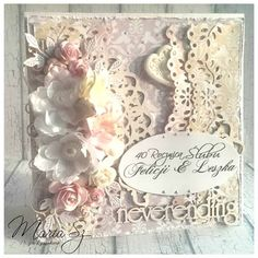 Beautiful card from Marta using products from www.scrapandcraft.co.uk #Lace #flowers #dies #swirls #scrapiniec
