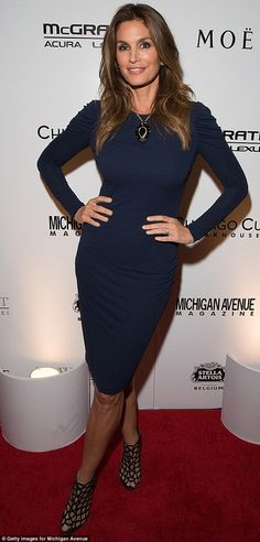 Still hot: Now in her late 40s, Crawford looked beautiful at a Chicago red carpet on Octob...