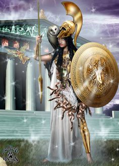 ATHENA, Goddess of: wisdom, war (strategy), courage, cunning intelligence, art & craft, skill, inspiration, civilization, law & justice, strength and mathematics among others.  Symbols: Owl- wisdom, watchful eye  Shield- protective power (bears the head & powers of Medusa, invoking fear in enemies)  Helmet & Spear- wisdom & strategy= key to victory in war  Snakes- creation, healing, life force, fertility; creative power of wisdom     (Upper left: her close companion Nike, Goddess of Victory)
