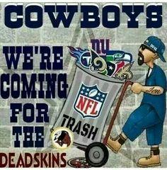 Dallas took out the Trash! Dallas Cowboys Quotes, Dallas Cowboys Pictures, Dallas Cowboys Football, Football Team, Funny Football, Cowboys Win, Dallas Cowboys Wallpaper, Redskins Fans, How Bout Them Cowboys