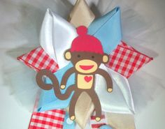 sock monkey Baby Shower Corsage   Ready To Ship by CrazyCraftFrog