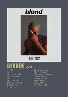 The album blonde 2016 Minimalist Music, Minimalist Poster, Room Posters, Poster Wall, Blonde Album, Vintage Music Posters, Vintage Movies, Ac2, Aesthetic Songs