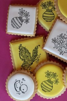 Use rubber stamps, uninked pads and food coloring to stamp royal icing on cookies