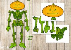 Extra large Pumpkin paper doll 33 inches to craft at home with kids.  Welcome and Thank You for visiting PapierBonbon - Instant download &