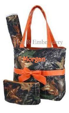 Personalized Orange Camo Diaper Bag Camouflage Mossy Oak   eBay