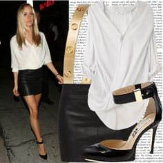 black leather mini and stilletos balanced with a white draping blouse