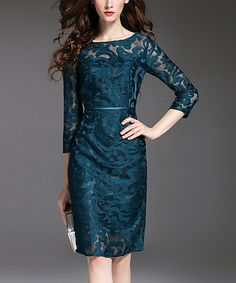 Take a look at this Vicky and Lucas Navy Mesh Lace Three-Quarter-Sleeve Dress today!
