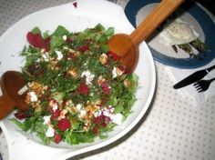 arugula & beet salad with dill, goat cheese and walnuts