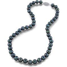 14K White Gold AAA Quality Black Japanese Akoya Cultured Pearl Necklace Try a different take on Japanese Akoya cultured Pearl jewelry with pretty black pearl necklace. With gleaming 14K white gold for the unique single strand fishhook clasp and large 7.0-7.5mm shining black Akoya pearls with AAA grade quality imported from the salt waters of Japan are grown in the Pinctada fucata oyster this pearl necklace is sure to help you make a statement. All pearls in this necklace are perfectly round…