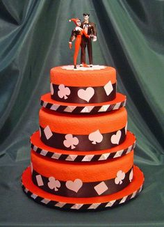 The joker Harley Quinn wedding cake. THIS IS THE BEST for him