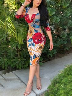 Floral Print Low Cut Bodycon Dress dresses to wear to a wedding dresses short dress outfit dress dress dresses modest dresses Dresses To Wear To A Wedding, Formal Dresses For Women, Modest Dresses, Fall Dresses, Short Dresses, Diy Dress, Dress Outfits, Fashion Dresses, Trend Fashion