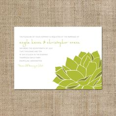 Sweet Succulent Wedding Invitation by pinklilypress on Etsy