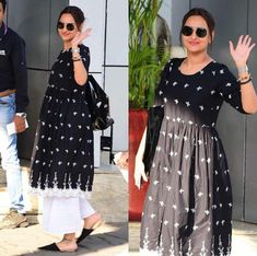 black and white suit to purchase mail us at com or whatsapp us on 9833411702 for further query Ethnic Outfits, Fashion Outfits, Trendy Outfits, Women's Fashion, Simple Dresses, Casual Dresses, Casual Wear, Black And White Suit, Pakistani Fashion Casual