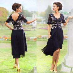 0f86f673321 2017 New Elegant Navy Blue Mother Of The Bride Dresses With Half Sleeves V  Neck Lace