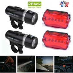 USB Rechargeable LED MTB Bike Bicycle Head Front Light Rear Tail Lamp Holder Set