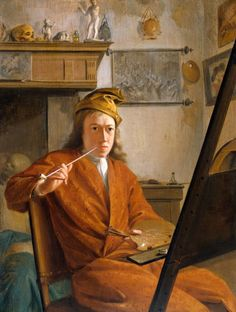 17xx-Self Portrait_Aart Schouman (1710-1792)-Wrapping Gown, Cap-Dutch