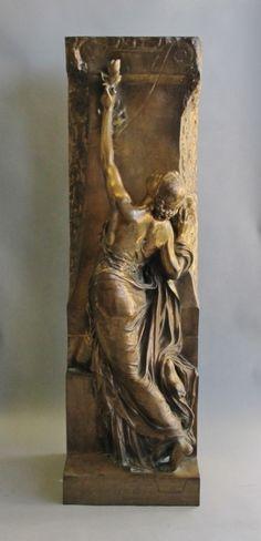 """Art Nouveau Gilt Bronze Sculpture HENRI CHAPU c.1875 """"La Jeunesse"""""""