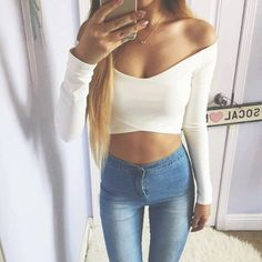 Pinterest @esib123  off the shoulder white top and jeans