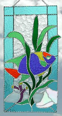 """Tropical Fish Stained Glass Suncatcher Panel - 8"""" x 17"""" - $62.95"""