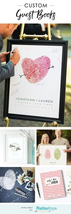 Guest book alternative posters and hard cover guestbooks.  Wedding signs and posters. flutterbyeprints.com/