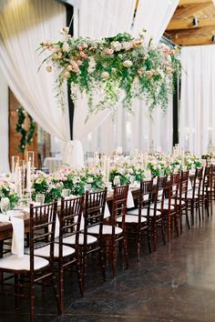 We're swooning over this stunning floral chandelier! Photo: Eve Yarbrough Head Table Wedding, Wedding Reception Centerpieces, Wedding Reception Decorations, Our Wedding, Wedding Ideas, Summer Wedding, Dream Wedding, Floral Wedding, Wedding Flowers