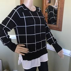 Great wardrobe staple Great dress it up or down work or play long sweater with silky blouse bottom The Limited Sweaters Crew & Scoop Necks