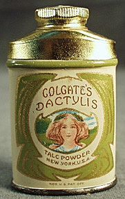 Vintage Sample Colgate's Dactylis Talc Tin with Pretty Girl